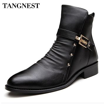 Tangnest New Men's Boots Genuine Leather Boot Male British Style Retro Martin