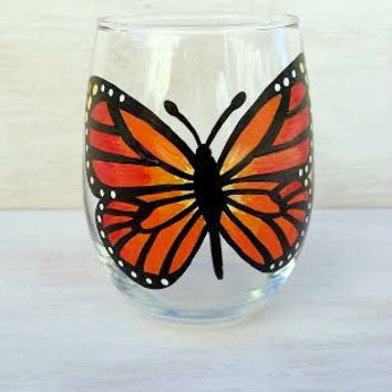 Butterfly handpainted stemless wine glass