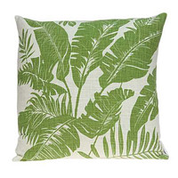 "20"" x 7"" x 20"" Tropical Green Pillow Cover With Down Insert"
