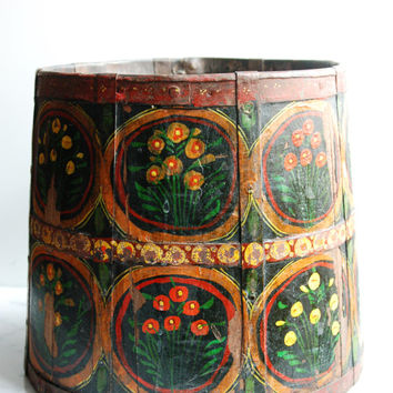 Swedish Vintage Hand Painted Basket / Mid Century Wooden Planter / Flower Design / Black, Red, Yellow & Green Painted Basket