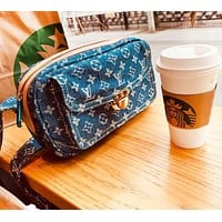 LV Louis Vuitton high quality new fashion monogram cowboy couple shoulder bag blue