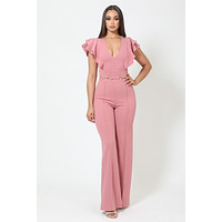 Layered Ruffle Shoulder Jumpsuit With Buckle Detail Dark Mauve