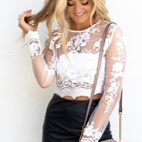 Special Treatment White Lace Floral Top