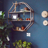 Copper Pipe Octagon Statement Shelf Wall Hanging Storage