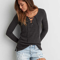 AEO Feather Light Pullover Shirt , Charcoal
