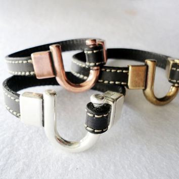 Men's leather bracelet with antique gold, copper or silver hook clasp, Cowhide
