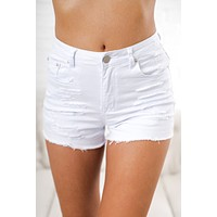 Michael Distressed Shorts (White)