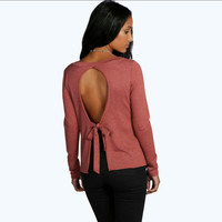 Backless Bow Knot Long Sleeve T-Shirt