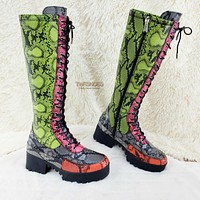 CR Liza Knee High Lace Up Platform Combat Boots Neon Multi Snake Deep Lug Tread