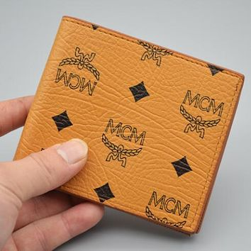 MCM Newest Popular Women Shopping Leather Folding Wallet Purse Yellow
