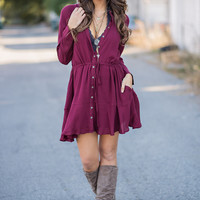 Untouchable Long Sleeved Cinch Waist Button Up Dress (Wine)