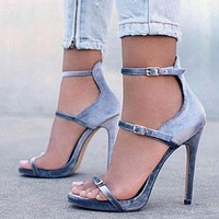 Summer Buckle Strap High Heels Sandals