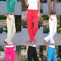 Drawstring Linen Pants with Pockets