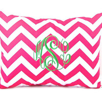 Monogrammed Pillow Hot Pink Chevron Decorative Throw Pillow Cover Personalized Home Decor 12 x 16 Baby Gift Dorm Decor