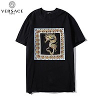 Versace casual couple print t-shirts are hot sellers with vintage gold dragon print tops Black