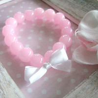 Light Pink Glass Bead Elastic Bracelet With by Wonderfullmoments6
