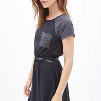 FOREVER 21 Knit Pocket Dress Black/Charcoal