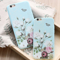 Womens Vintage Floral iPhone 5S 6 6S Plus Case Cover + Nice Gift Box 446
