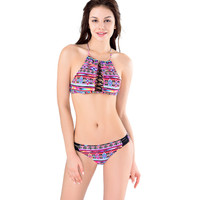 Tribal Print Lace Drawstring Bikini 10613