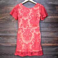 spanish embroidered lace dress - red