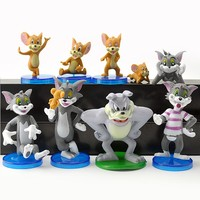 9pcs/lot Cartoon Tom and Jerry Action Figures Tom Jerry Spike PVC Action Figures Toys Model For Kids Gifts