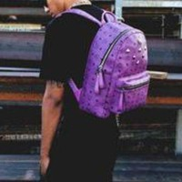 LMFIH3 MCM Backpack Girl Boy Bag Backpack B-LLBPFSH Purple