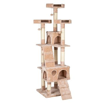 "66"" Sisal Hemp Cat Tree Tower Condo Furniture Scratch Post Pet House Play Kitten with Cozy Perches Beige"