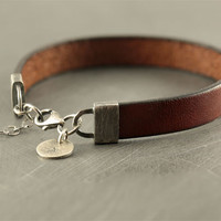 Personalized braclet, mens leather bracelet, sterling silver bracelet, mens jewelry, mens accessories, father brother husband, trending now