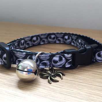 Jack Skellington (Nightmare Before Chrismas) Halloween Cat Collar in black and white (Quick Release)
