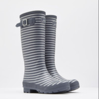 Joules Silver Striped Rain Boots