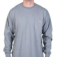 Longshanks Sewn Patch Long Sleeve Pocket Tee Shirt in Graphite by Country Club Prep