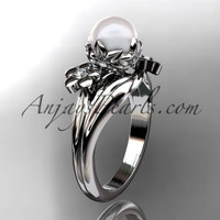 14kt white gold diamond pearl unique engagement ring, wedding ring AP159