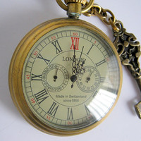 London gentleman's pocketwatch design 2 with brass colored key charm and chain necklace Christmas gift