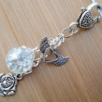Romantic Crystal Rose Winged Heart Fried Marble Keychain