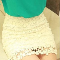 High Waisted Retro Flower Lace Skirts