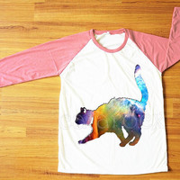 Galaxy Cat T-Shirt Cat Shirt Animal T-Shirt Galaxy Shirt Pink Sleeve Tee Shirt Women T-Shirt Men T-Shirt Unisex T-Shirt Baseball Shirt S,M,L