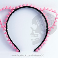 Baby pink acrylic spikes spiked cat kitty ears black headband covered in black ribbon - punk goth rock chick stud halloween, cosplay outfit