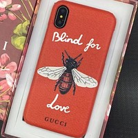 Gucci IPhoneX shell leather case with a hard shell to prevent a new wave of men and women Red bees