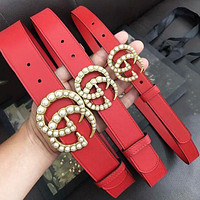 Onewel GUCCI New fashion pearl buckle leather couple belt More Size Optional Red