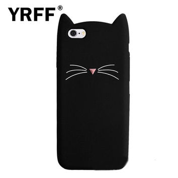 NEW 3D cute cartoon Black beard cat Ears soft silicone case For iphone 5 5s se 6 6s plus 7 plus rubber Coque back cover