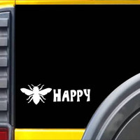 Bee Happy Honey Bee Decal Sticker *J281*