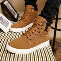 Fashion new 2014 men casual ankle boots for men canvas sport buckle rivet Sneakers shoelace anti-slip shoes size 39-44