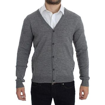 Gray Wool Down Logo Cardigan - Full button closure