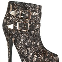 Platform Round Toe Bootie with Lace Overlay and Side Buckles