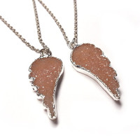 Angel Wing Necklace with Agate Druzy - Friendship Necklace, Druzy Necklace, Agate Druzy Jewelry, Angel Wing Charm Necklace, Champagne Druzy
