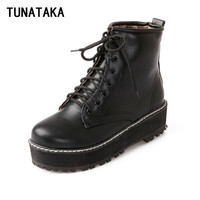 Ladies Work Platform Ankle Boots for Women Flat Thick Heel Tactical Military Winter Combat Booties 2016 Black Red White Shoes