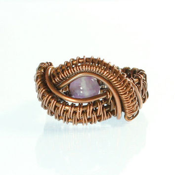 Amethyst Copper Wire Ring, Purple Stone, Size 5 and One Half Ring, Dragon's Eye, Natural Stone, Small, Unisex, February Birthstone