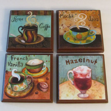 Coffee Kitchen Room Wall Plaques Brown Frame - Set of 4 Colorful Coffee Room Decor - SET #2 - Whimsical Coffee Wall Signs