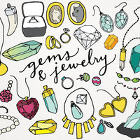 Gems and Jewelry Clipart & Logos - gems clipart, jewels clip art, rocks and minerals, necklaces, rings, logo design, instant download