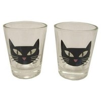 Hipster's Choice Cool Black Cat Shot Glasses - Set of Two